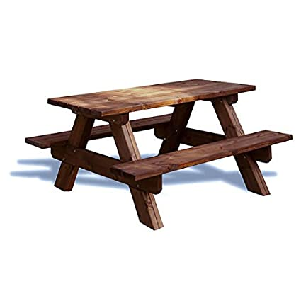 estrucmader - Mesa picnic de madera para jardín 130cm, para 4 pers. color cerezo
