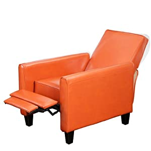 Lucas Orange Leather Recliner Club Chair