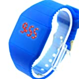 Dark-blue Touch Screen Unisex LED Digital Watch Wristwatch Timepiece Gum Strap NEW