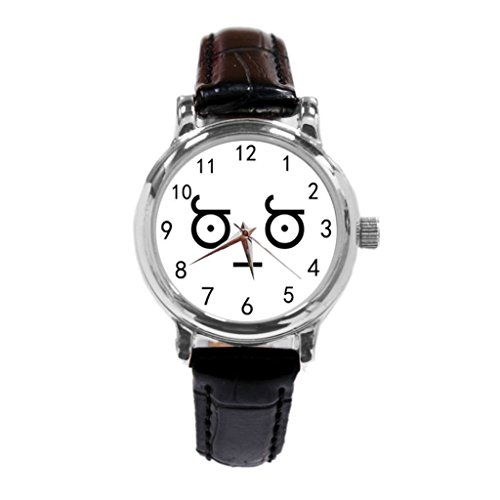 SaliMoon Design Look of disapproval Custom Unisex Stainless Steel Leather Strap Watch Metal Case, Tempered Glass, Black Leather Band