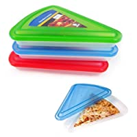 3 Plastic Pizza Slice Containers Box Lid Compact Takeout Food Storage Lunch New