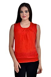 Femninora Red Color Casual Top With Shoulder Net