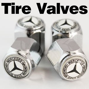 Mercedes Logo (lettering around the logo) Tire Valve Stem Caps set of 4