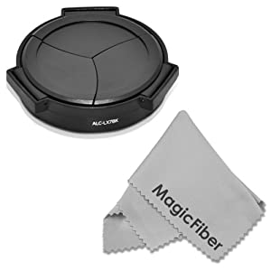 Auto Lens Cap for PANASONIC LUMIX DMC LX7 LX-7, LEICA D-LUX 6 (4.7mm deeper for use with Filters) + MagicFiber Microfiber Lens Cleaning Cloth