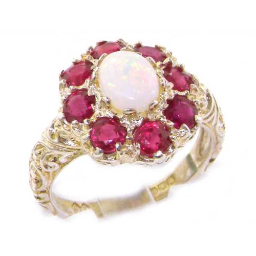 Solid English Sterling Silver Womens Large Opal & Ruby Art Nouveau Ring - Size 12 - Finger Sizes 5 to 12 Available - Suitable as an Anniversary ring, Engagement ring, Eternity ring, or Promise ring