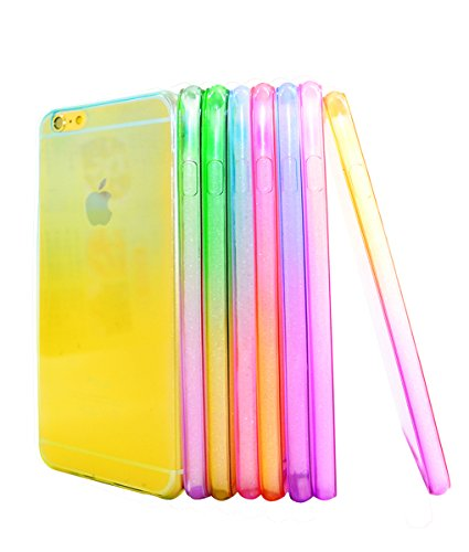 iPhone 5/5S Case - Castle Cas 8 * Premium Slim TPU Flexible Soft Case For iPhone 5/5S with Mobile Phone Cleaner Pendant - Gradual Change/(Purple, Clear, Red, Yellow, Green, Blue, Pink, Peach) (Pretty Iphone 5s Cas compare prices)