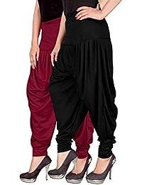 Navyataa Women's Lycra Dhoti Pants For Women Patiyala Dhoti Lycra Salwar Free Size (Pack Of 2) Maroon & Black