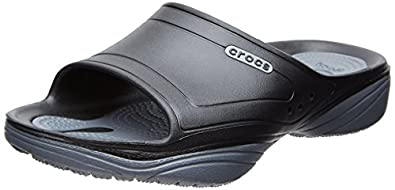 crocs Unisex Modi 2.0 Slide Flip Flop, Black/Charcoal, 4 M US