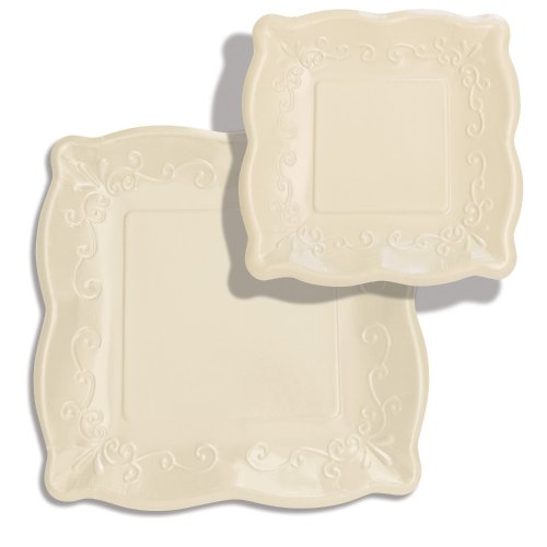 "Elise Scalloped Embossed 10"" Square Premium Paper Banquet Plates, 8 Count, Linen"
