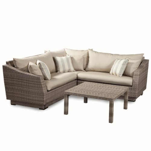 Rst Brands 4 Piece Cannes Sectional And Conversation Table Patio Furniture Set Slate Gray Sac