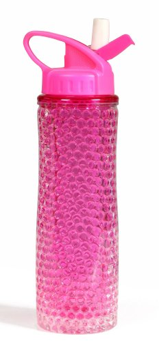 Decodyne™ Freezer Water Bottle - Double Wall - Instant Cooler Water Bottle - Filled With Unique Honeycomb Shaped Freezable Gel (Pink) front-228133