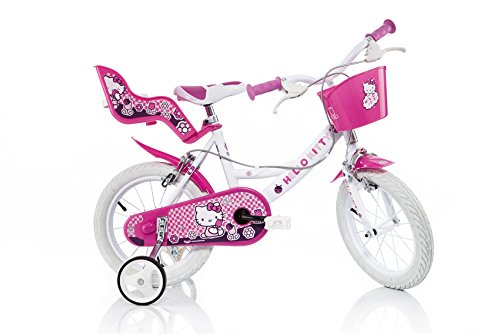 "Dino 144R-HK - Bicicletta Bimba Hello Kitty 14"",  2 Freni"