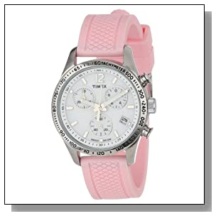 Timex Women's T2P063KW Ameritus Chronograph White Dial, Pink Silicone Strap Watch