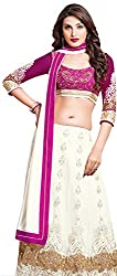 Khoobee Presents Women's Multi Embroidered Semi-Stitched Lahenga With UnStitched Blouse Piece.(White,Pink)
