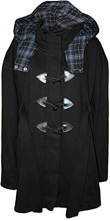 Womens Plus Size Plain Belted Hooded Toggle Ladies Jacket Duffle Coat - Black - 14
