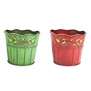 Holly Berry Planters,Metal,6.5x6x7.25 Inches,Set of 2