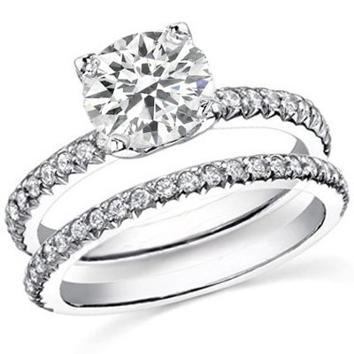 3.17 Ct. Round Cut Diamond Engagement Set G, VS2 (EGL Certified)
