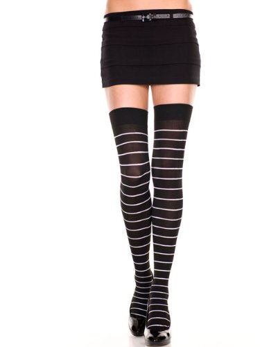 Opaque Fine Striped Thigh Hi Nylon Costume Hosiery