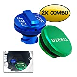 Diesel Fuel Cap for Dodge,Billet Aluminum Fuel Cap Combo Pack,Magnetic Ram Diesel Billet Aluminum Fuel Cap and DEF Cap Combo for 2013-2018 Dodge Ram Truck 1500 2500 3500 with New Easy Grip Design