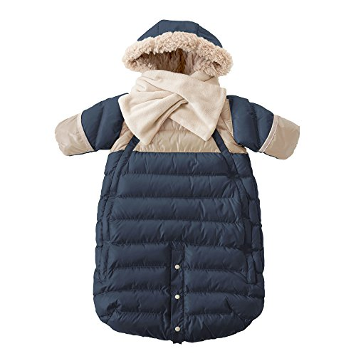 7AM Enfant Doudoune One Piece Infant Snowsuit Bunting, Midnight Blue/Beige, Large