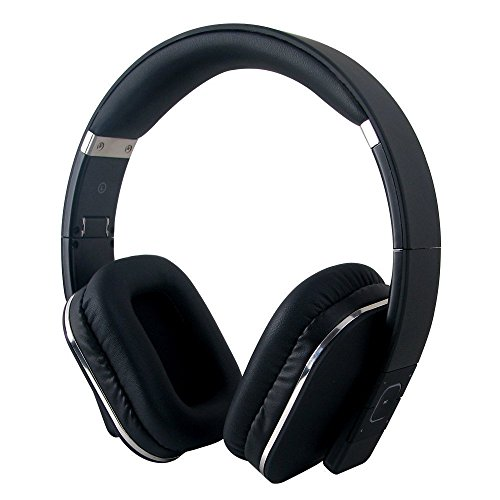 August EP650 Bluetooth Wireless Stereo NFC Headphones - Comfortable Leather Cushioned Headset with built-in Microphone, 3.5mm Audio In Socket and Rechargeable Battery - Compatible with Mobile Phones, iPhone, iPad, Laptops, Tablets, Smartphones etc. (B...