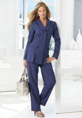 Roamans Plus Size Tall 10-Button Design Pantsuit