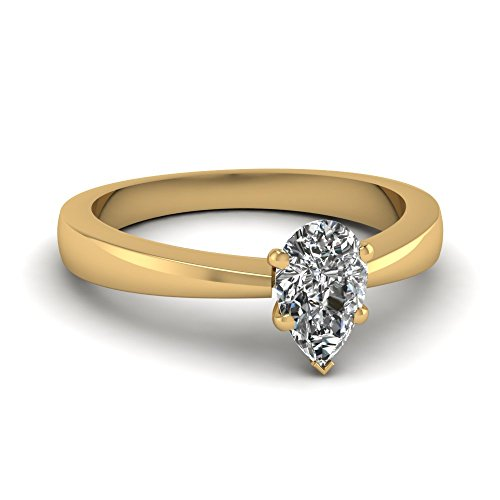 Fascinating Diamonds Tapered Edge Solitaire Engagement Ring 0.75 Ct Pear Shaped Diamond E-Color Gia