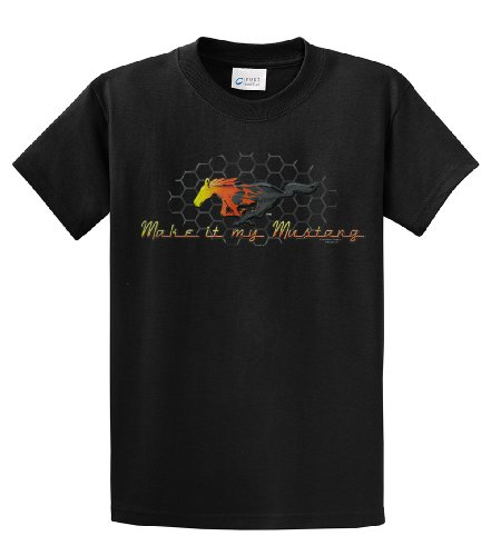 Beach Graphic Pros Make It My Ford Running Mustang Classic Car Adult T-shirt-Large, Black
