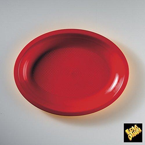 Piatti Plastica PP Round Ovali Piccoli 255mm cfz 50pz (Rosso)