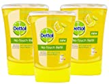 3x Dettol No Touch Refill Anti Bacterial Hand Wash Kills 99.9% Bacteria 250ml (3x Fresh Citrus Squeeze)