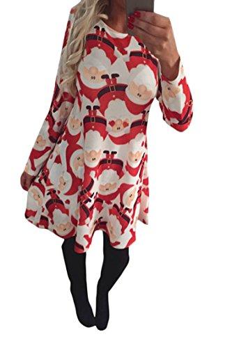 LaSuiveur Women's Christmas Santa Claus Print Pullover Flared Dress