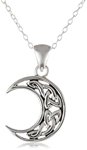 Sterling Silver Celtic Knot Crescent Moon Pendant Necklace with Rolo Chain, 18