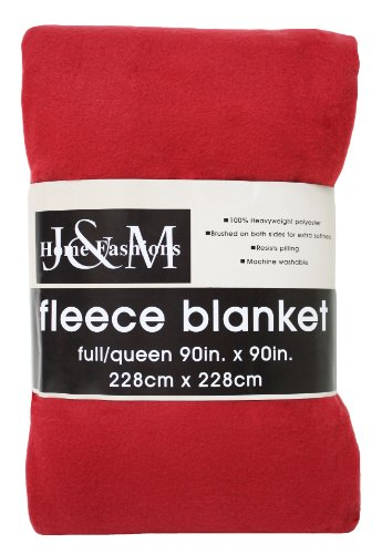 J & M Home Fashions 90-Inch By 90-Inch Fleece Blanket, Full/Queen, Claret