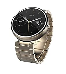 Motorola Moto 360 Androidwear Smartwatch 1st Generation - 46mm (Certified Refurbished) (Champagne Metal - Slim Fit )