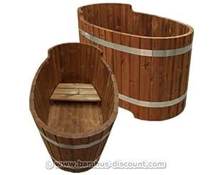 holz badewanne mit sitzbank set2 f r holzbadefass. Black Bedroom Furniture Sets. Home Design Ideas