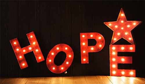 Glitzhome Vintage Marquee LED Lighted Letter O Sign Battery Operated Red 4