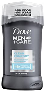 Dove Men + Care 1/4 Moisturizer Deodorant, Clean Comfort, 3 Ounce (Pack of 2)
