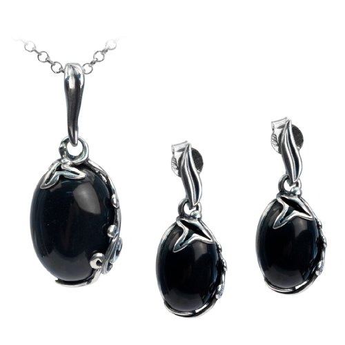 Sterling Silver Imitation Black Onyx Oval Earrings Pendant Set Chain 18 Inches