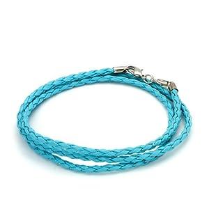 Pugster Pugster Aquamarine Blue Leather Bracelet Fits Pandora Charm Biagi Chamilia Bead