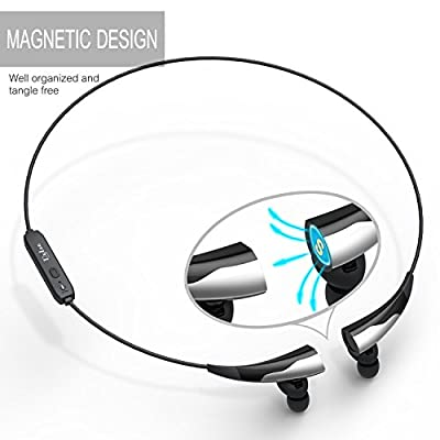 Bluetooth Headset [Magnetic Necklace Design] Bluetooth Headphone V4.1 Wireless Sport Headphone Clear Audio Quality for Running Gym Compatible with iPhone Android Tablet & Other Bluetooth Devices