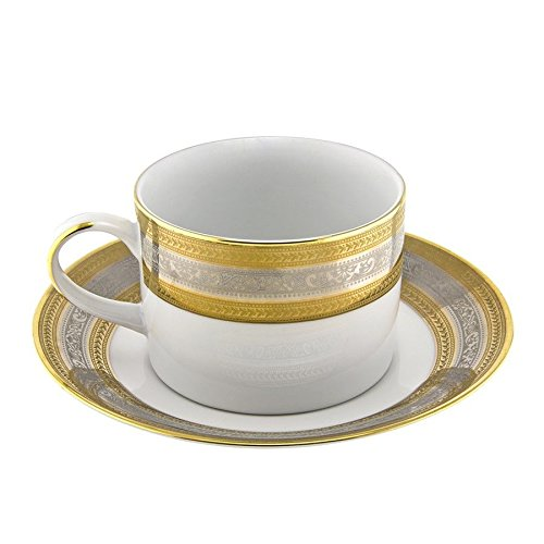 Ten Strawberry Street Elegance Can Cup/Saucer, Set of 6, White & Platinum & Gold ;supply_from:shop_freely