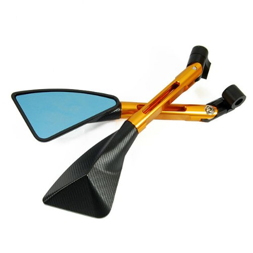 Motorcycle Ripple Black & Gold Triangle Blade RearView Side Mirror Fit 10mm 8mm