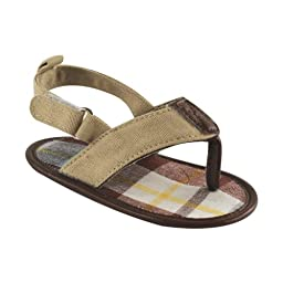 Luvable Friends Boys Plaid T Strap Sandal (Infant), Tan, 12-18 Months M US Infant