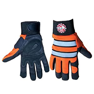 Global Glove HR9000VIS Aireflex Synthetic Leather Hot Rod High Visibility Sport Glove with 3M Scotchlite Reflective, Work, 2X-Large, Black/Orange (Case of 48)
