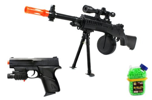(Combo) Velocity Airsoft Mini M14 Spring Airsoft Gun Fps-250 + Spring Airsoft Pistol Fps-130 W/ Aiming Sight, Tactical Flashlight + 1000 Bb'S Clip-On Holster Container