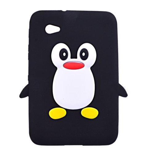 K9Q Schutzschale für Samsung Galaxy Tab 2 7.0 P3100 P3110 P3113, Design 'Cartoon-Pinguin', Schwarz
