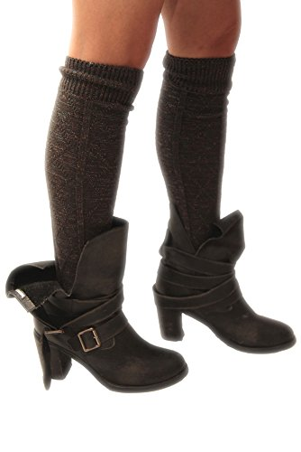 Knee High Socks for Women and Ladies metallic grey by Minx