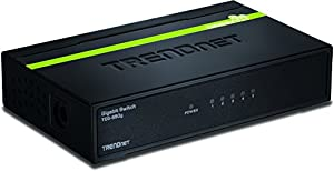 TRENDnet TEG-S50g 5-Port Unmanaged GigaBit GREENnet Switch 5 x 10/100/1000 Mbps Auto-Negotiation, Auto-MDIX GigaBit Ethernet Ports (Black Metal)