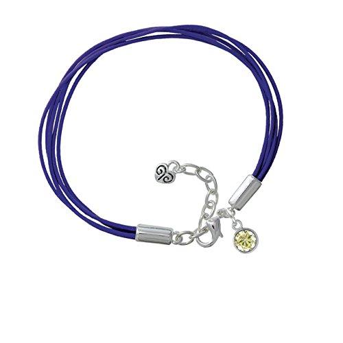 Cz Round - 6Mm Lime Green - Purple Leather Aruba Bracelet