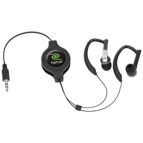 Retrak Retractable Ear-Wrap Stereo Earphones, Black (Etaudiowrp)